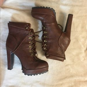 Tall brown boots with platform